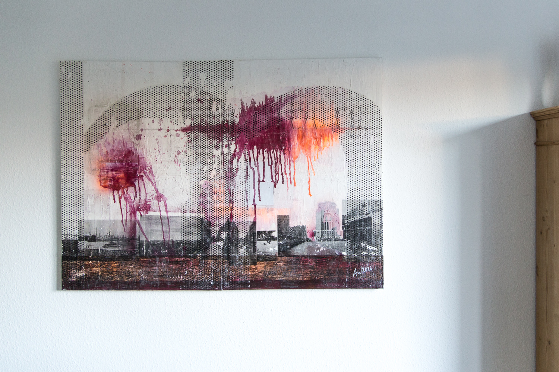 Hamburg Exegese, Fototransfer und Spraydose auf Leinwand, 140 x 100 cm •